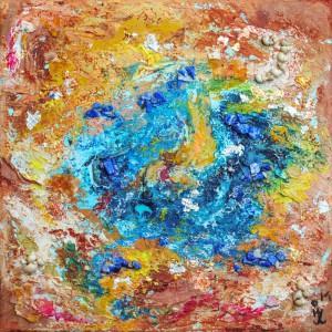 Ingrid Zelessen  Ocean in Spain, lapis,vuuropaal,schelp 20x20 cm