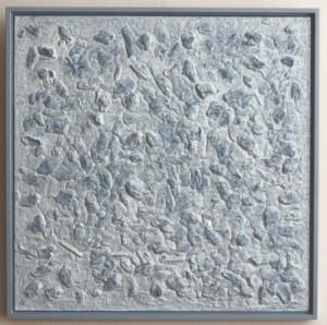 Henk Broeke O.5 - Blue rocks - 63 x 63 cm - wood, latex & acryl